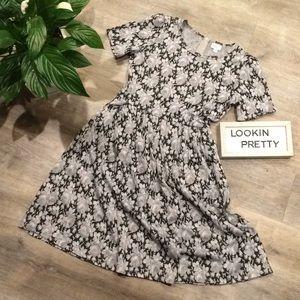 LuLaRoe Amelia Dress 👗 Grey Floral Pattern XL